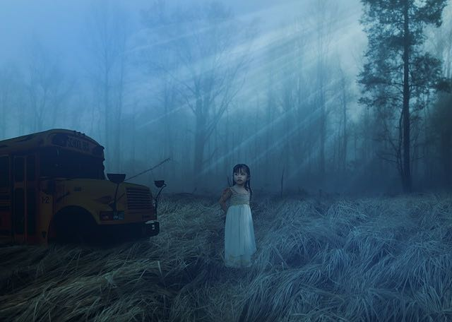 creepy child horror landscape