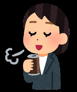 コーヒーで一服している人のイラスト(女性会社員・缶コーヒー)