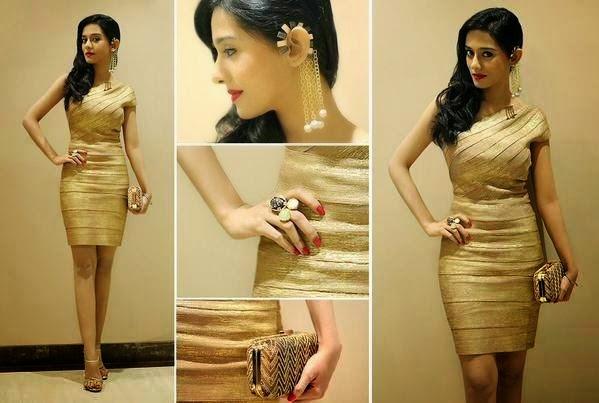 Amrita Rao in Golden Mini-dress