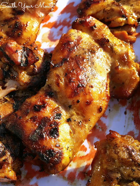 All-Star Chicken! This marinade comes together quickly with simple ingredients like soy sauce and dijon mustard. Top with Cajun White Barbeque Sauce (recipe included here too)!