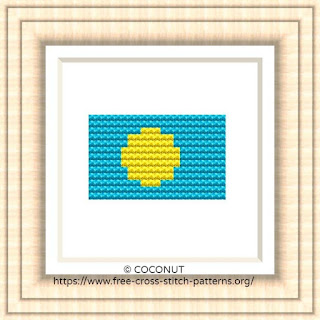 NATIONAL FLAG OF PALAU CROSS STITCH CHART