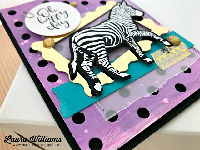 Use the Gel Press with Cosmic Grape Re-Inker to create a beautiful background, and then die cut it with the Lots of Dots background die. The zebra is embossed on this fun and funky handmade card created by Laura Williams using Fun Stampers Journey stamps and dies #lauralooloo #funstampersjourney #handmadecards #rubberstamping #FSJColorfulJourney #gelpress
