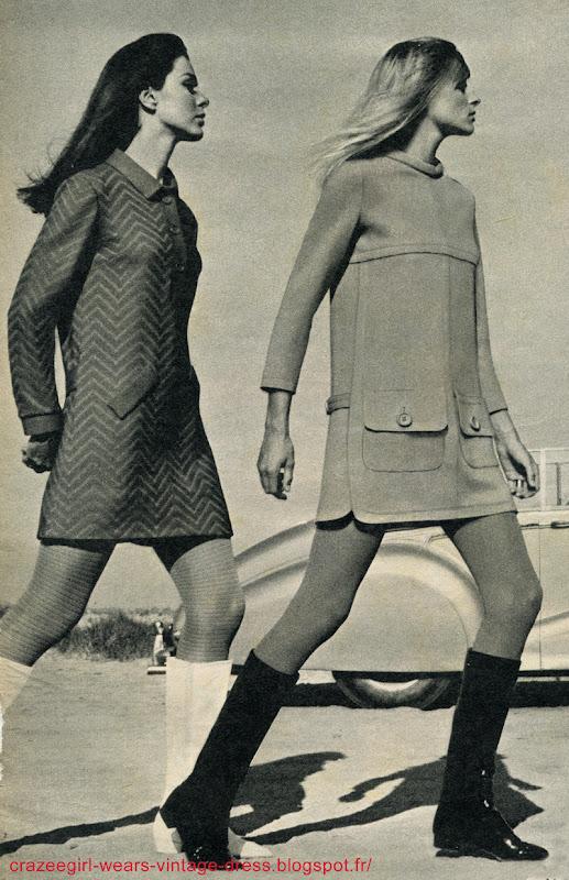 vintage 1967 dress mod 60s 1960 Robe polo à poches obliques , jeu de chevron ton sur ton , Madeleine de Rauch  Robe manches 7/8 , grandes poches à rabats boutonnés , surpiqûres et symétrie sur jersey , Louis Feraud