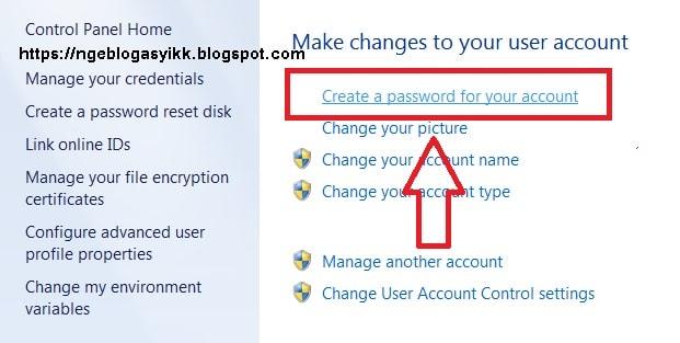 tips trik ubah change account password win 7