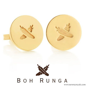 Meghan Markle Boh Runga Feather Kiss Gold Discologo Studs