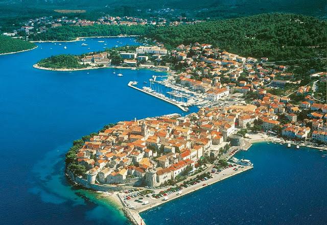 Imagem aérea da cidade de Korcula – Croácia
