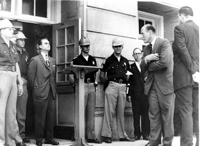 """""""Stand in the Schoolhouse Door,"""" Democratic Governor George Wallace tries to block integration at the University of Alabama, June 1963."""