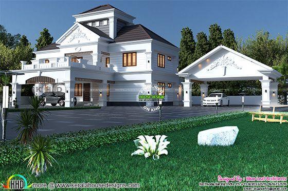 Modern sloped roof luxury home plan 4500 sq-ft