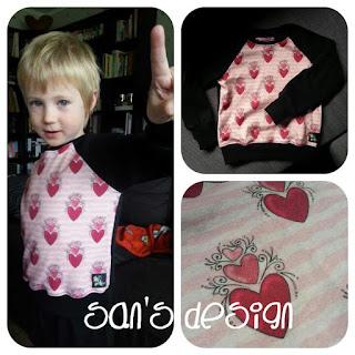 Önsketröja till stora sonen som så gärna ville ha en tröja med rosa hjärtan!