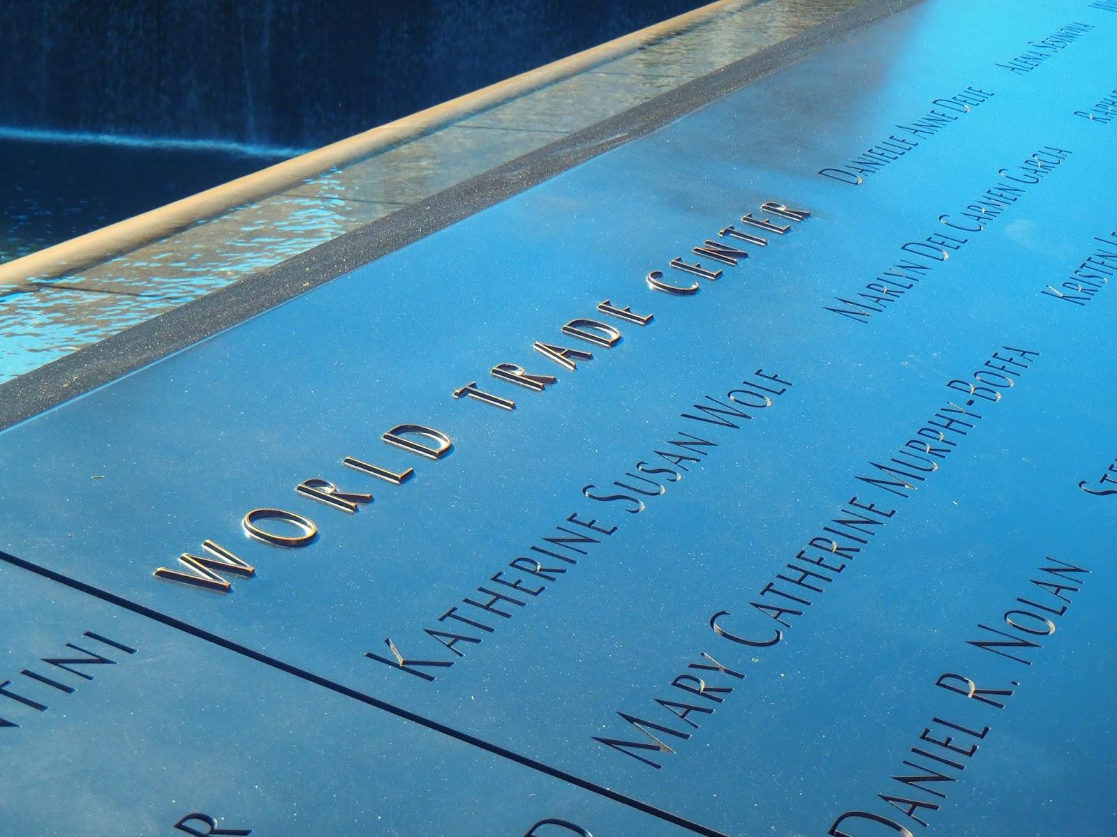 Names inscribed in 9/11 Memorial New York City