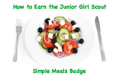 Here is a complete meeting plan for having your Junior troop earn the Simple Meals badge.