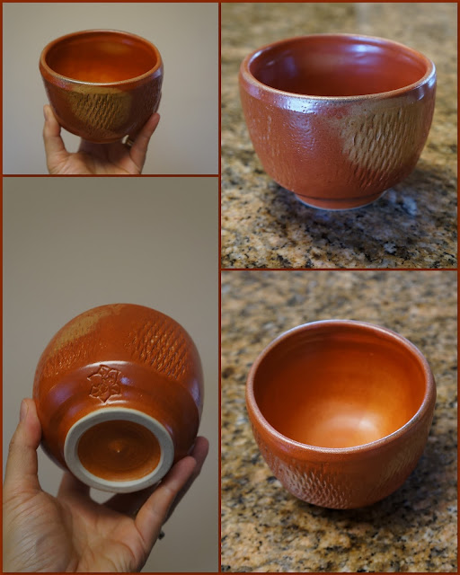 Tea bowl in Carbon Trap Shino, by Lily L