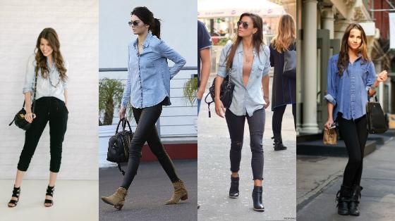 camisa jeans com calca preta