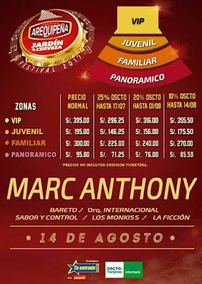 Marc Anthony en Arequipa, precio de entradas