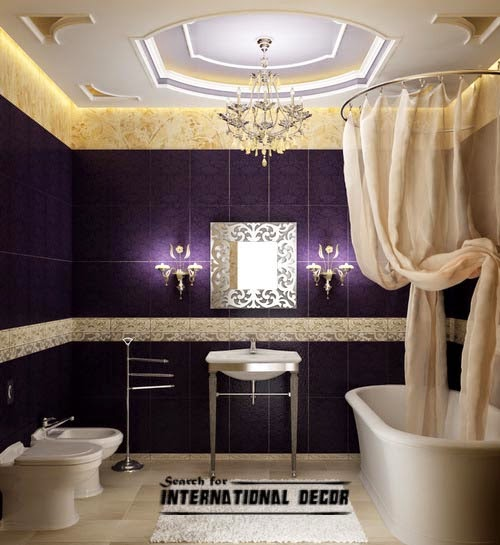 False ceiling designs for bathroom, luxury purple bathroom