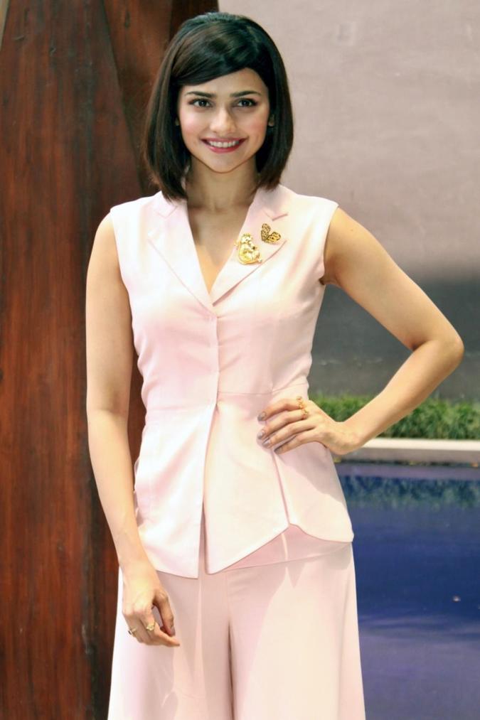 Beautiful Surat Girl Prachi Desai Cute Smiling Stills In Pink Dress