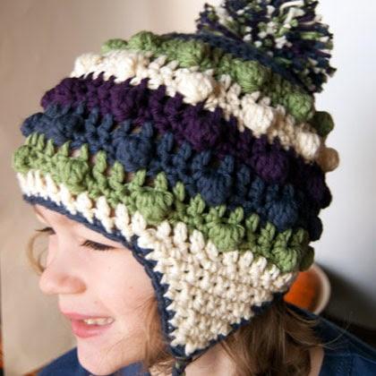 Bobble Poof Crochet Earflap Hat
