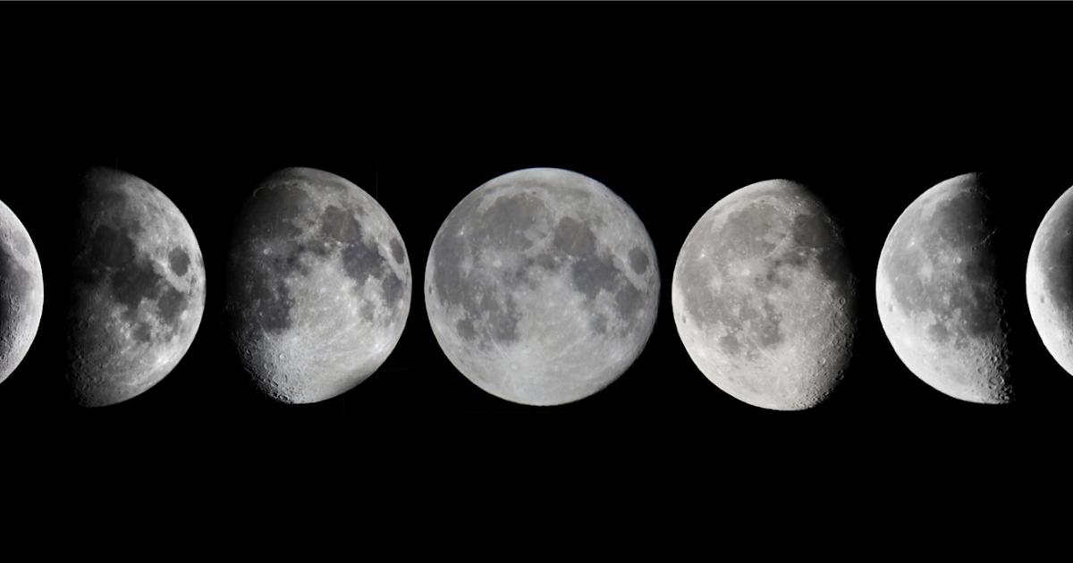 есть фото луны в разных фазах располагается шпуле