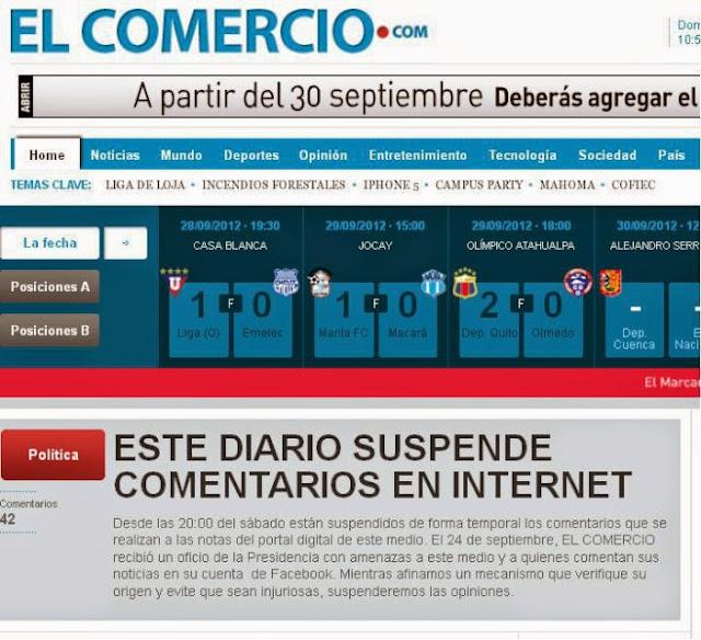 pagina web de El Comercio de Ecuador no funciona