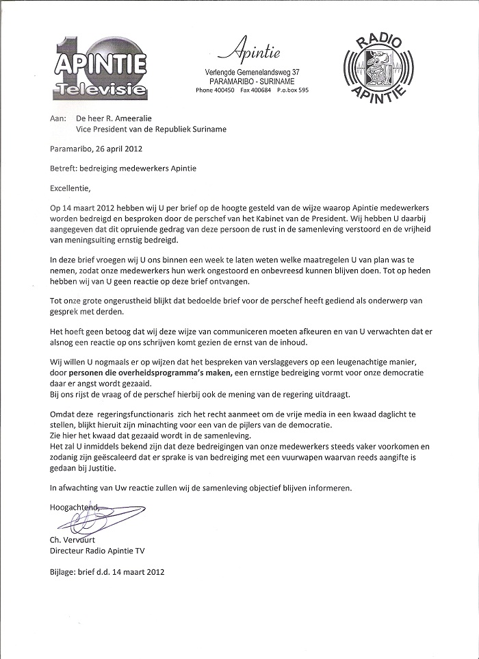 excuses aanbieden brief voorbeeld Suriname Tribune: mei 2012