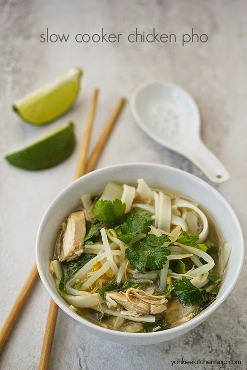 Easy crockpot chicken pho noodle soup