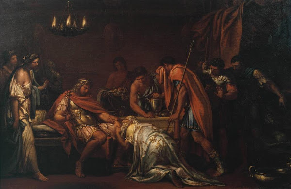 Priam Pleading with Achilles for the Body of Hector by Gavin Hamilton, Macabre Art, Macabre Paintings, Horror Paintings, Freak Art, Freak Paintings, Horror Picture, Terror Pictures