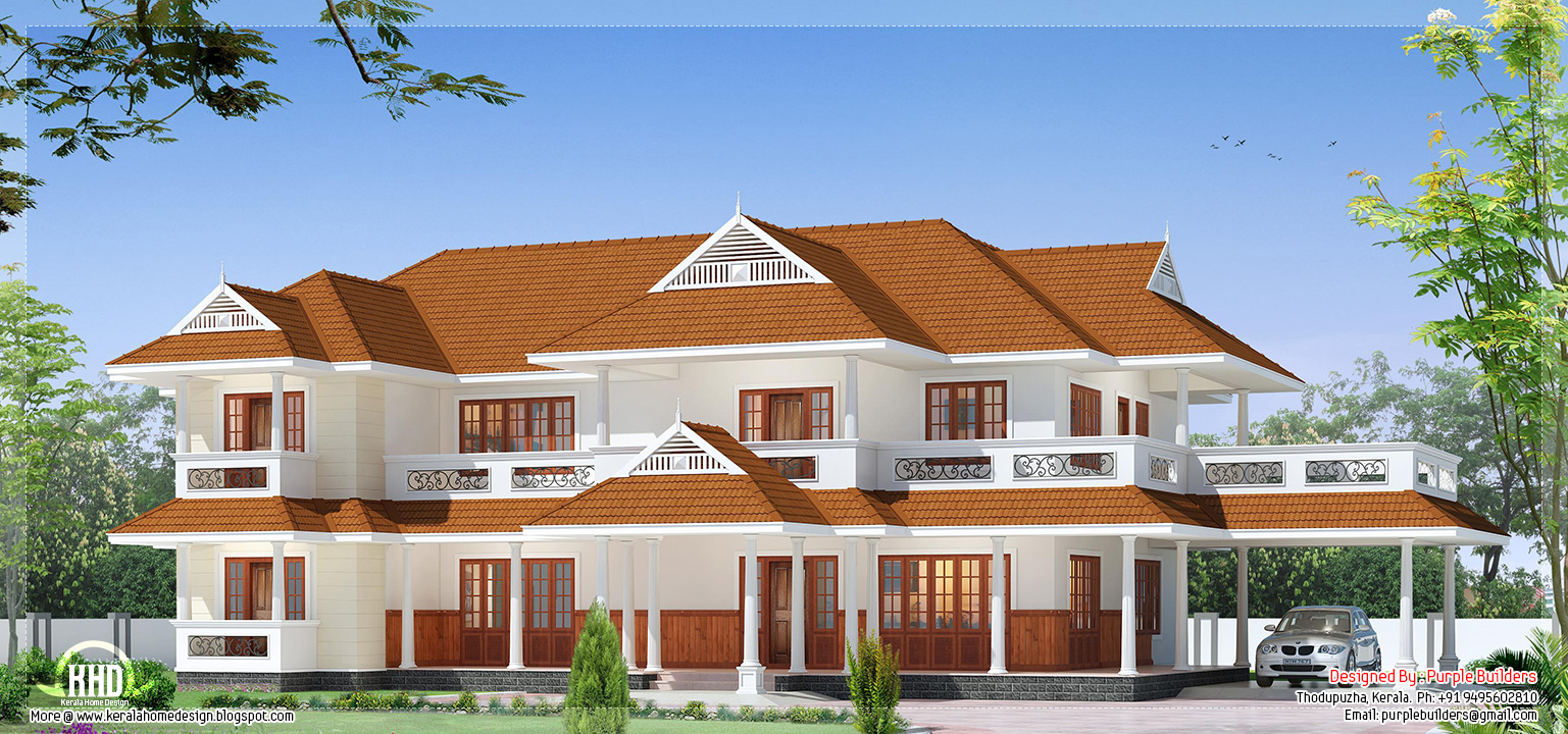 Beautiful luxury two storey house design kerala home for Beautiful 5 bedroom house plans with pictures