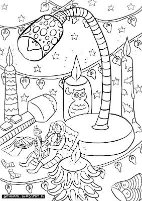 A coloring page of a reader with her lights / Värityskuva lukijasta lukuvaloineen
