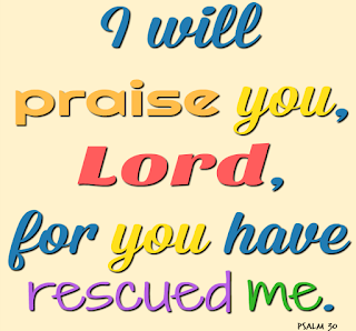 "The words ""I will praise you, Lord, for you have rescued me"" on a peach background."