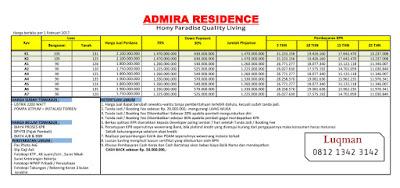 price list admira residence