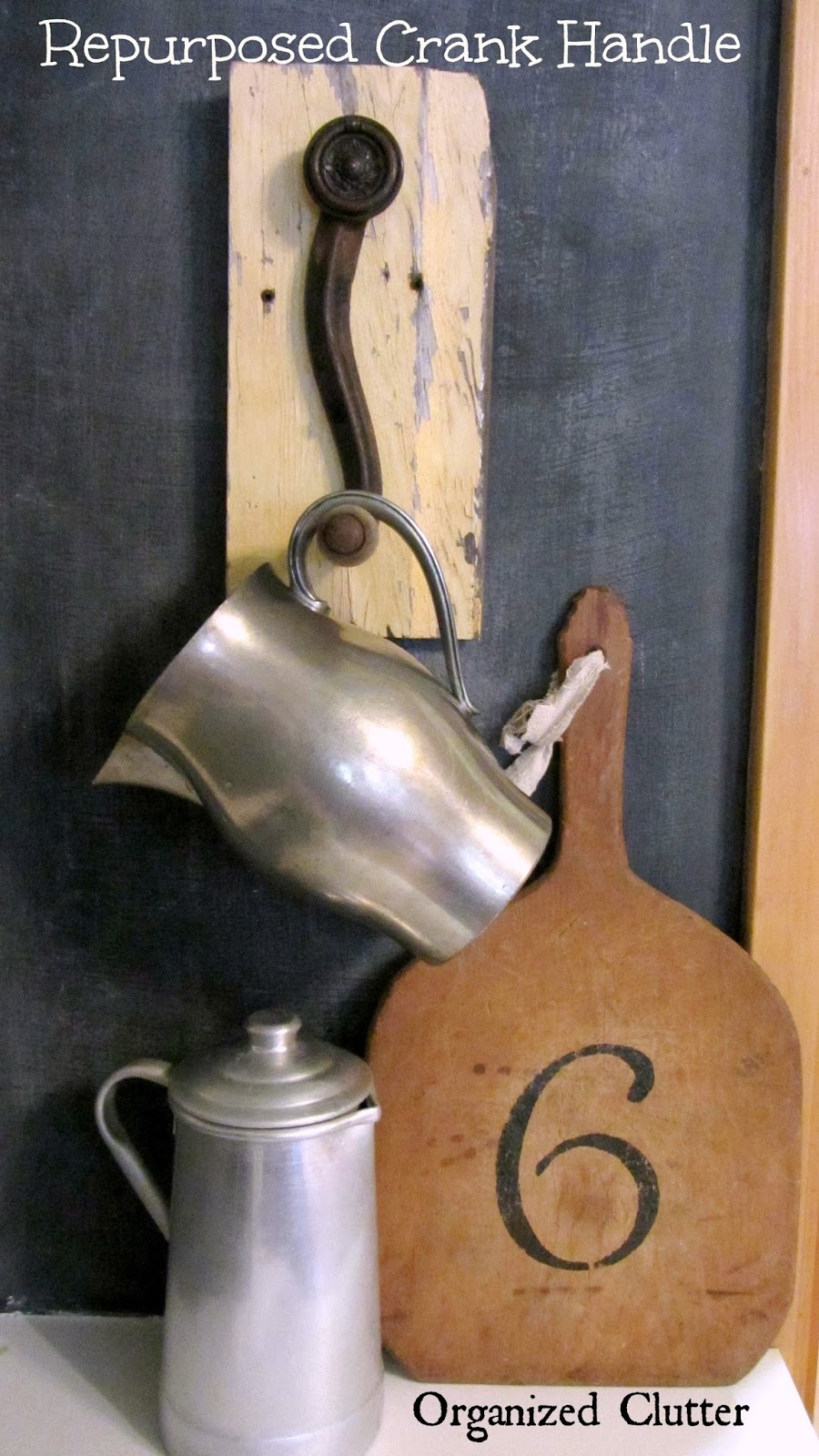 Crank Handle Hook Repurpose www.organizedclutterqueen.blogspot.com