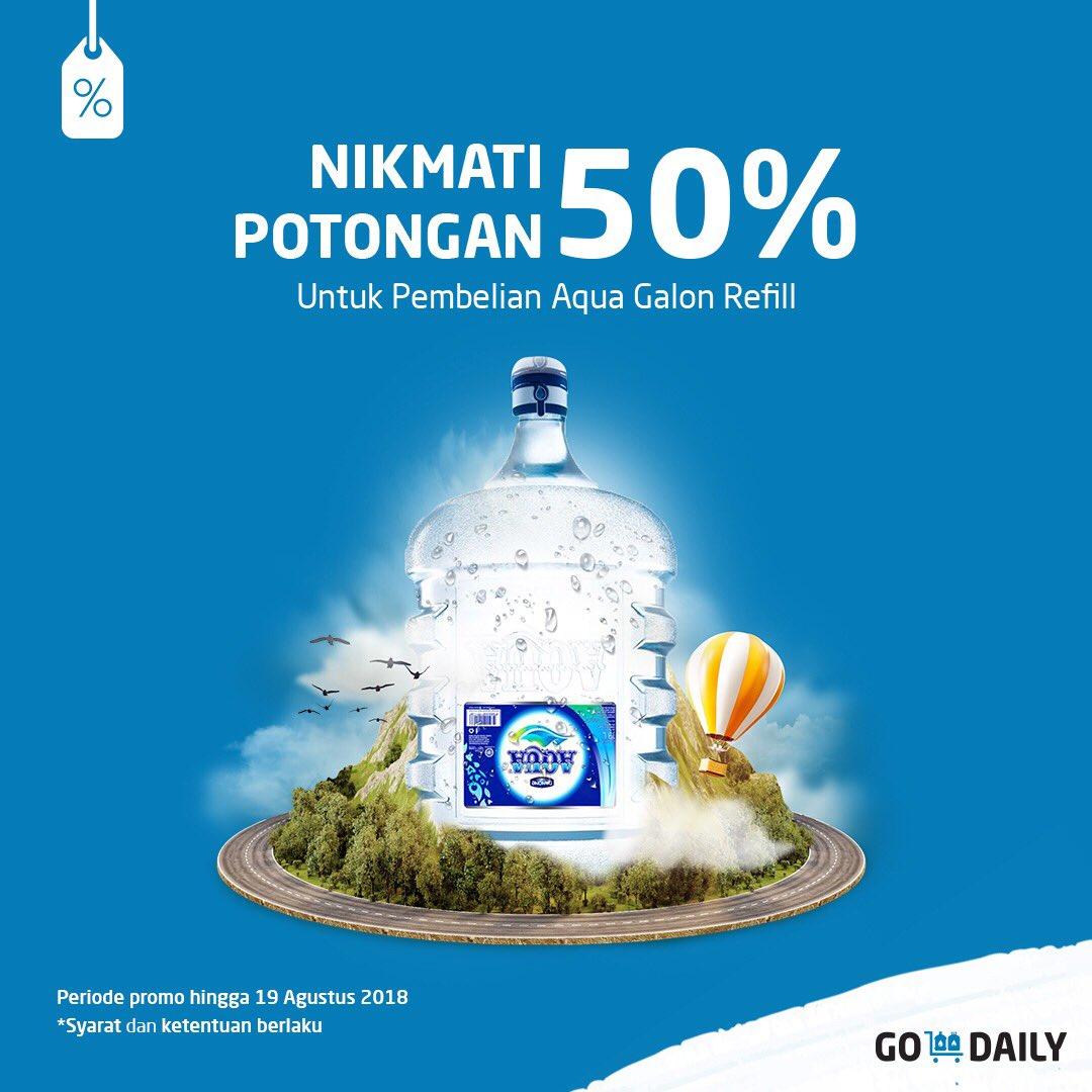 GO JEK - Diskon 50% Galon Aqua Pakai GO DAILY (s.d 19 Agustus 2018)