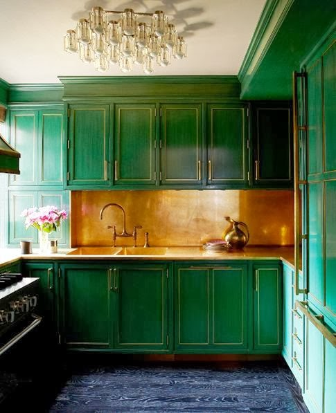 Kelly Wearstler green kitchen