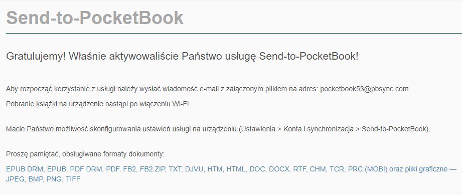 E-mail z informacją o pomyślnym aktywowaniu usługi Send-to-PocketBook