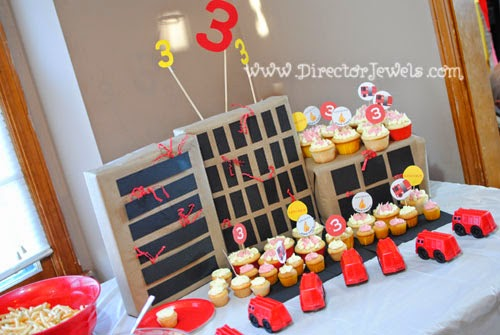 Firetruck (Fireman, Fire) Theme Preschooler Birthday Party at directorjewels.com. Ideas for Decorations and Games.