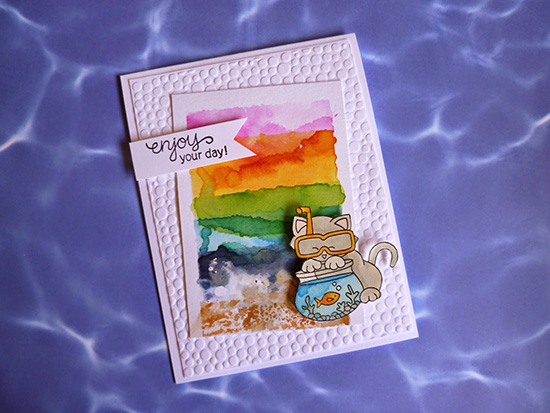 Watercolor Cat Beach card by Little Mennonite | Inky Paws #19 Watercolor Challenge at Newton's Nook Designs