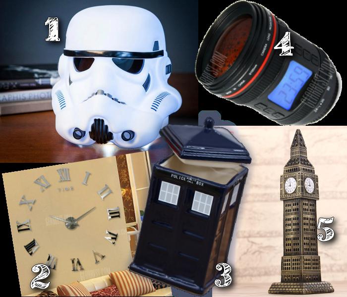 Luminária Stormtrooper, relógio lente de câmera, torre bigben, caneca de cabine policial