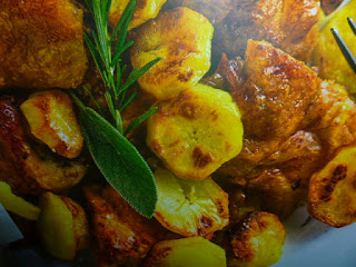 faraona alle erbe - con patate al forno