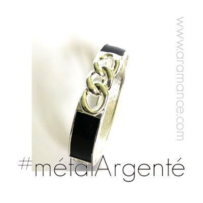 Bracelet jonc métal argenté et résine