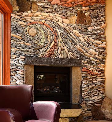 Decoración de sala con piedras de rio