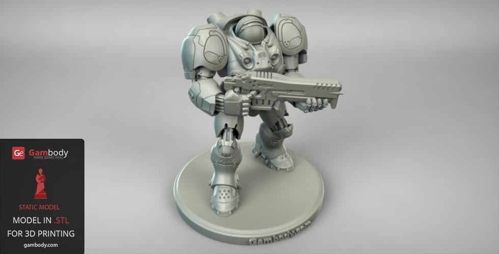 Terran Marine 3D figure for printing