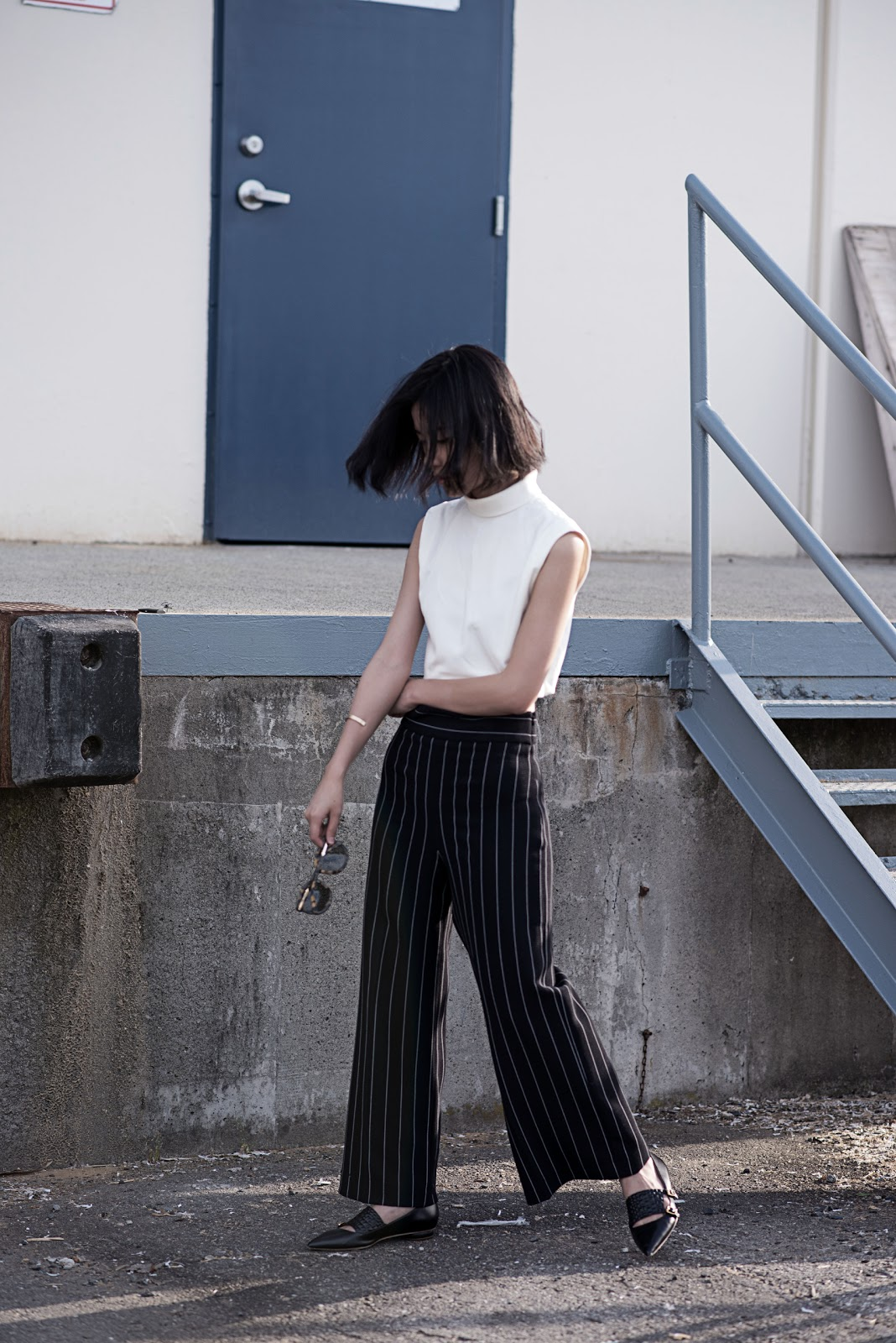 von vogue tibi crop top zara pants rupert sanderson flats