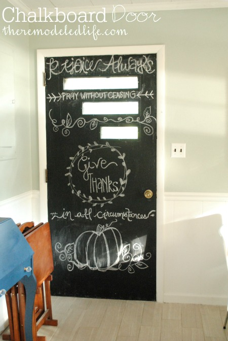 The Remodeled Life: Painting a Kitchen Chalkboard Door on chalkboard wall kitchen dining, chalkboard kitchen cabinets, chalkboard fridge, chalkboard paint backsplash kitchen,