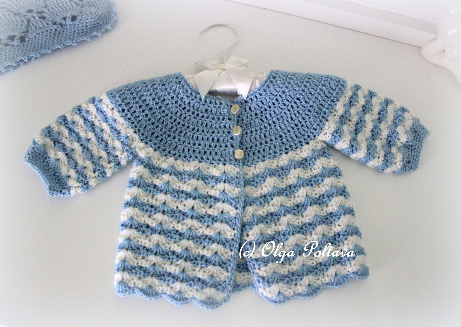 Crochet Patterns With Super Fine Yarn : Lacy Crochet: Newborn Baby Crochet Sweater