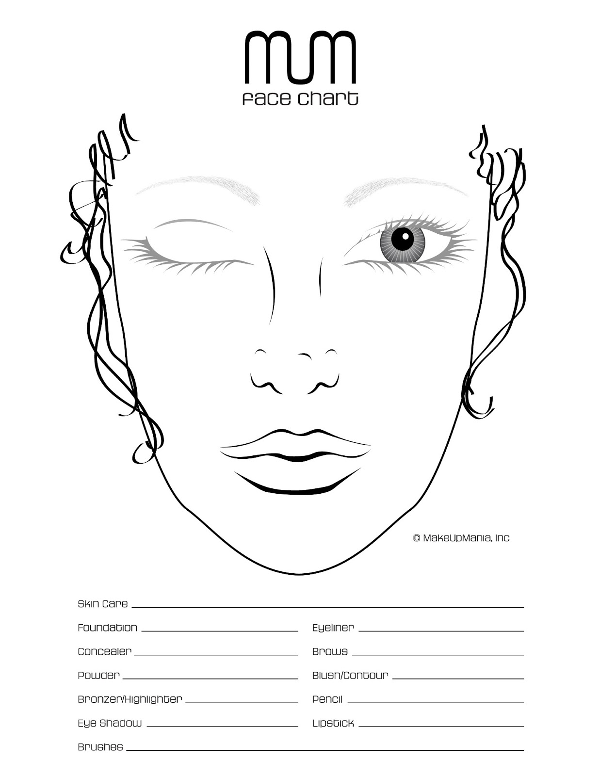 Kb Beauty Blank Face Chart Temples Male And Female