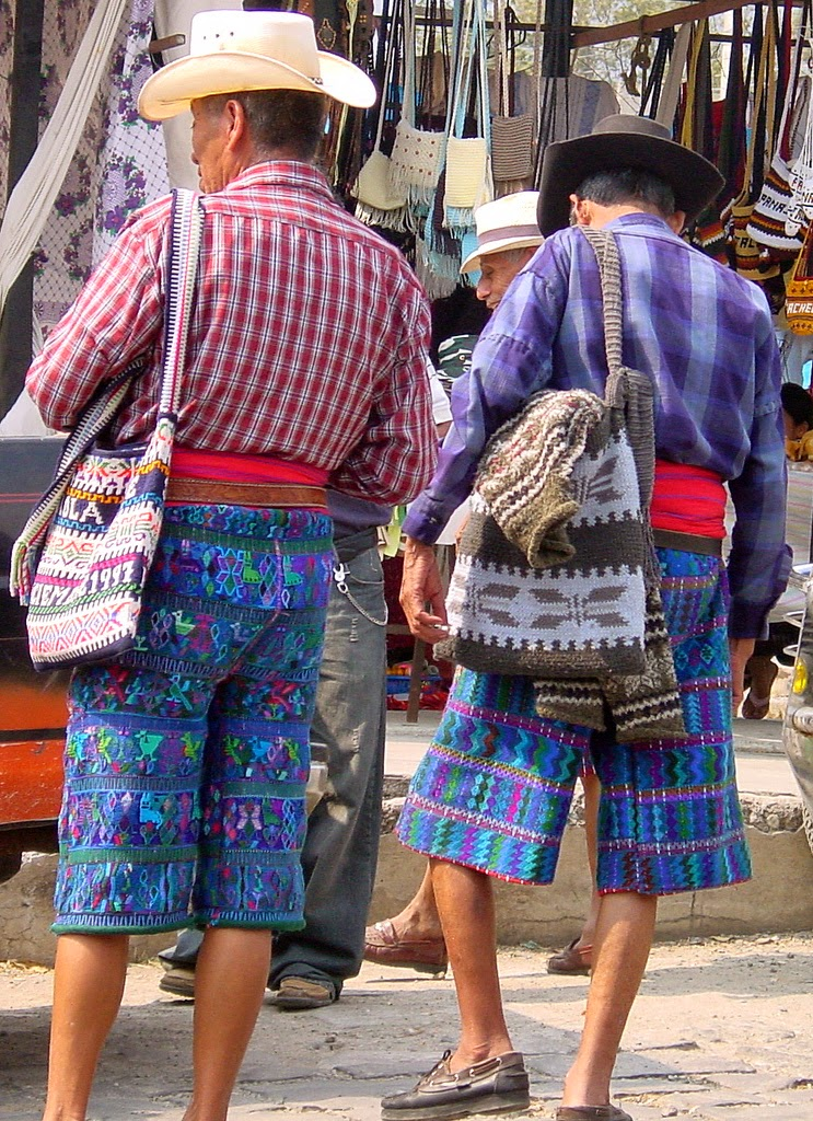 Men from Santa Catarina Atitlan of Guatemala in traditional embroidered pants