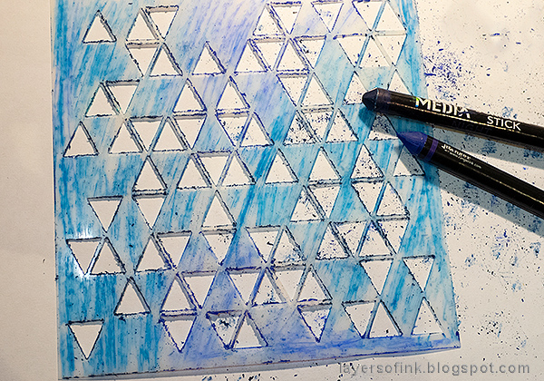 Layers of ink - Stencil and Scribble Sticks Background Tutorial by Anna-Karin Evaldsson. Color the stencil.