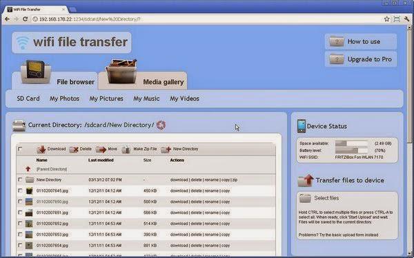WiFi File Transfer tampilan di pc