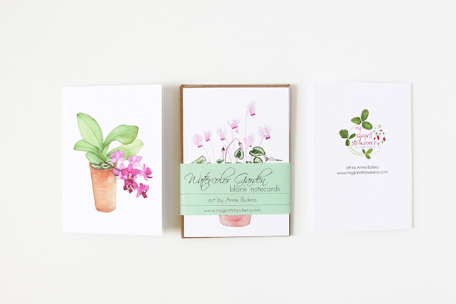 watercolor notecards, blank notecards, notecard set, Anne Butera, My Giant Strawberry