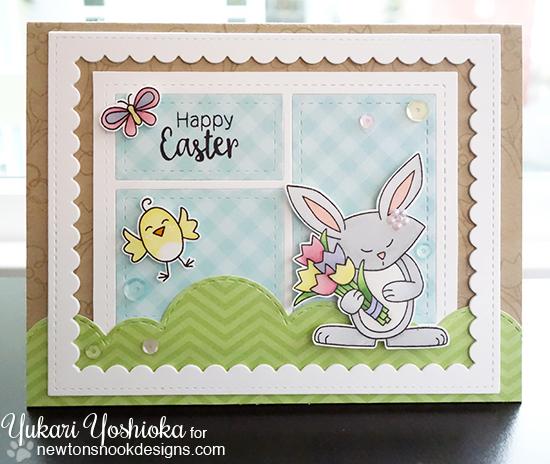 Easter card by Yukari Yoshioka | Hello Spring Stamp set by Newton's Nook Designs #newtonsnook #bunny #spring